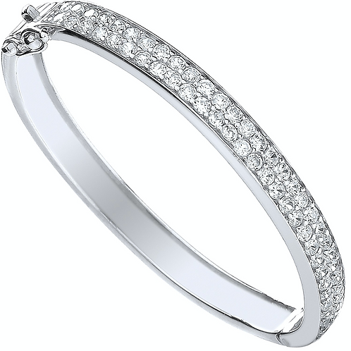 Silver Baby 2 Row Cz Bangle