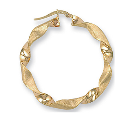 Gold large frosted twist hoops