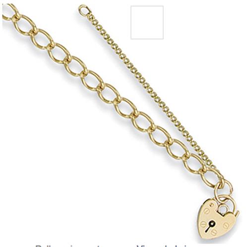 Open Curb & Padlock Charm Bracelet