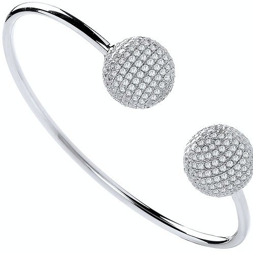 Silver Cz Balls Ladies Bangle