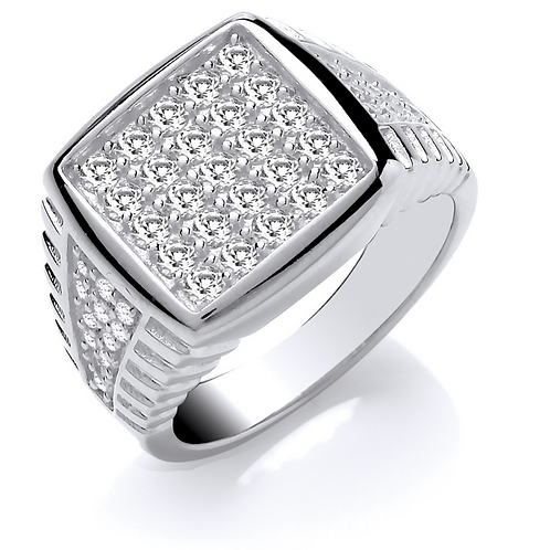 Silver Gents Square Top Cz Ring