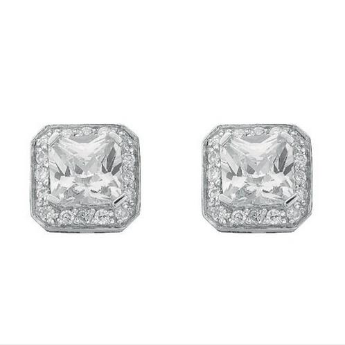 Silver Fancy Cluster Cz Stud Earrings