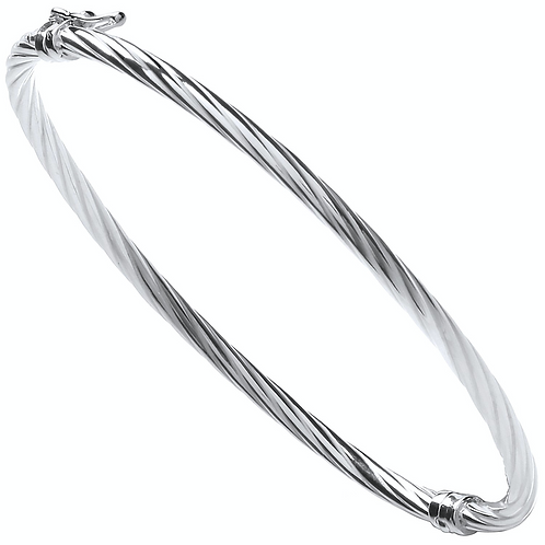 Silver Twisted Hollow Bangle