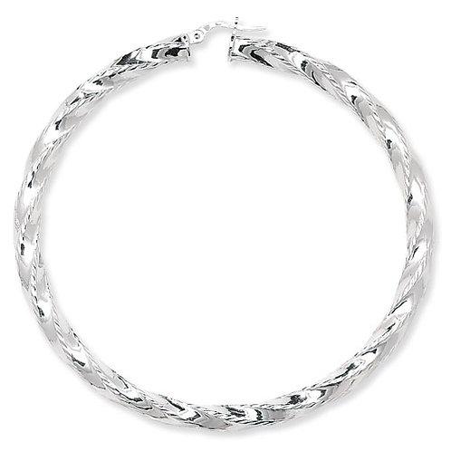 Large Diamond Cut Twisted Hoops