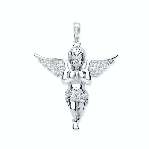 Silver CZ Angel Pendant