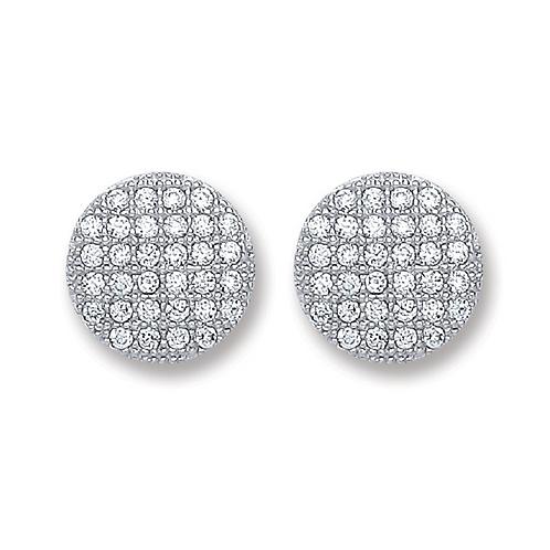 Silver Button Cz Stud Earrings