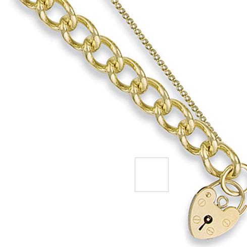 Curb Heart Padlock Bracelet