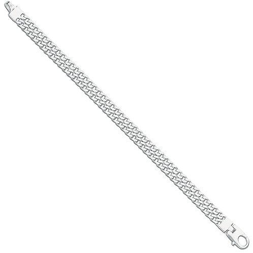 Silver Ladies Double Link Curb Bracelet