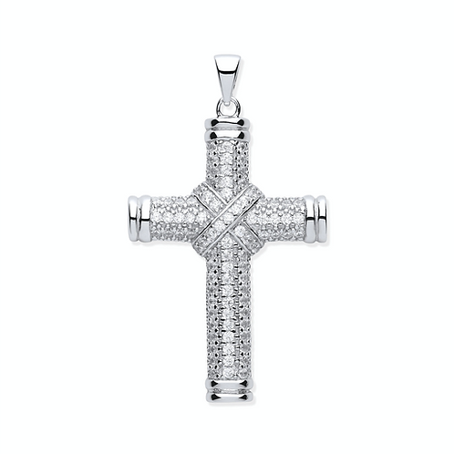 Silver Fancy Cz Kiss Cross