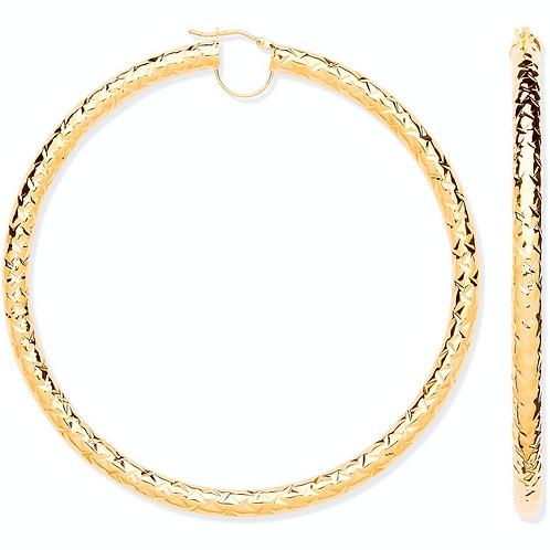 Y/G Diamond Cut 80mm Hoop Earrings