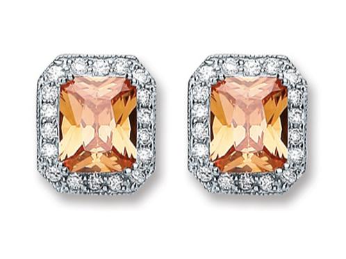 Silver Rectangular Champagne Cz Stud Earrings