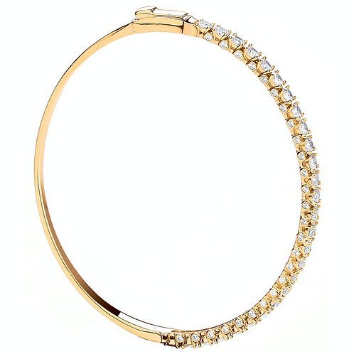 Y/G Centre and both sides set with CZs Ladies Bangle