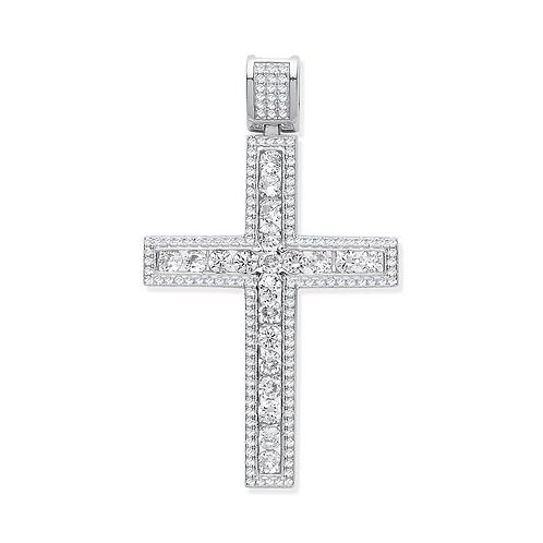 Silver CZ Square Fancy Cross
