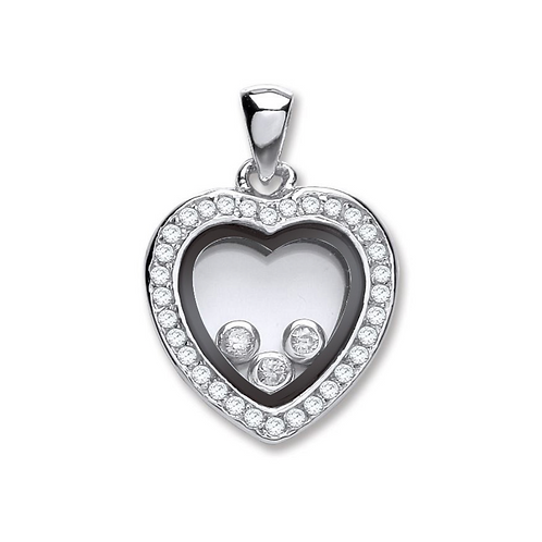 Silver Floating Cz Heart Pendant