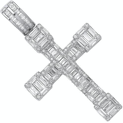 Silver Cz Baguettes Fancy Cross