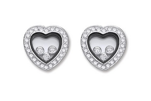 Silver Floating Cz Heart Stud Earrings