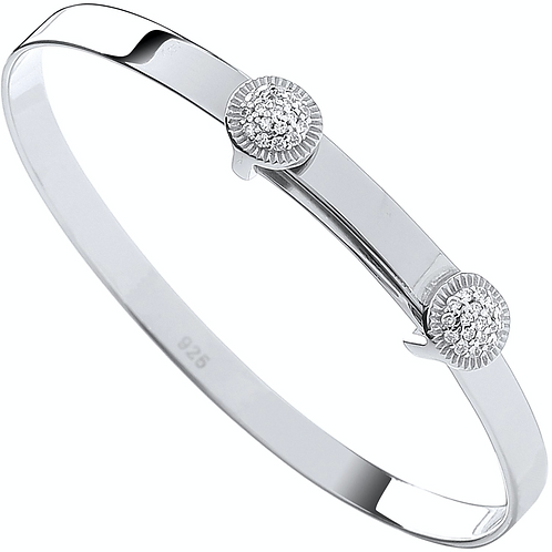 Silver Expandable CZ Round Studs Baby Bangle