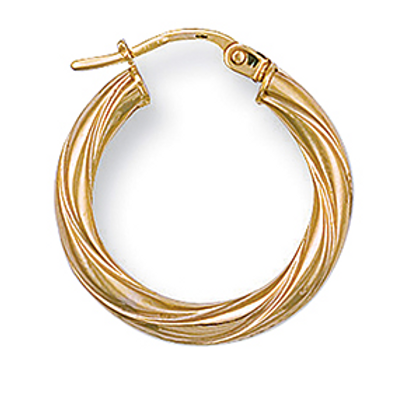 Twisted medium gold hoops