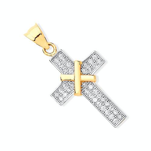 Y/G with CZs Cross