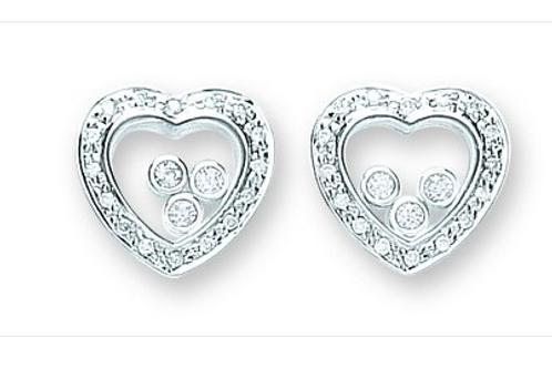 Silver Floating Cz Heart Stud Earrings