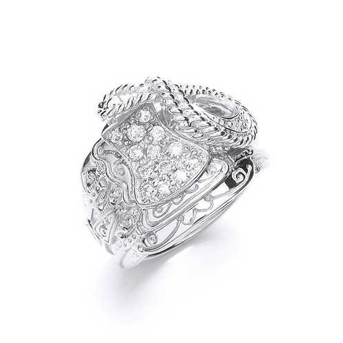 Silver Gents Cz Saddle Ring M