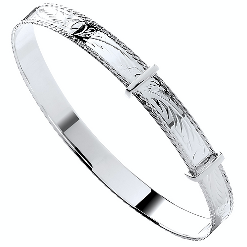 Silver 7mm Adult Diamond Cut Bangle