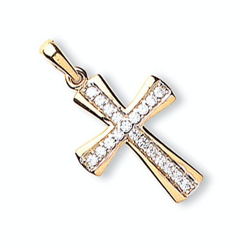 Gold Cz Traditional Cross