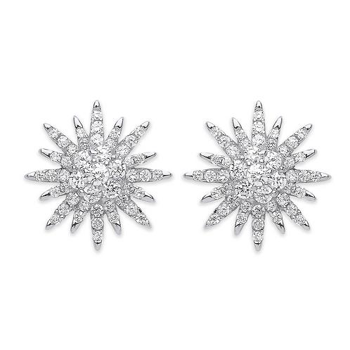 Silver Cz Starburst Stud Earrings