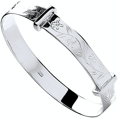 Silver D/C Expandable Baby Bangle
