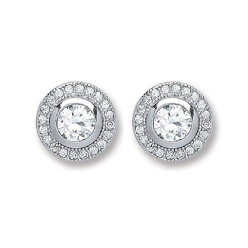 Silver Round Cz Stud Earrings