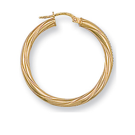 Twisted large gold hoops
