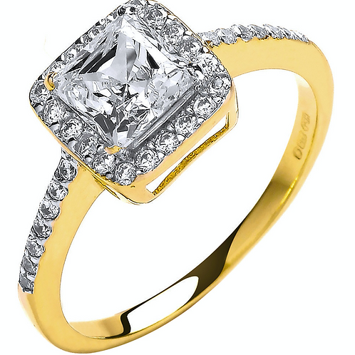 Y/G Ladies Princes Centre Cz Ring