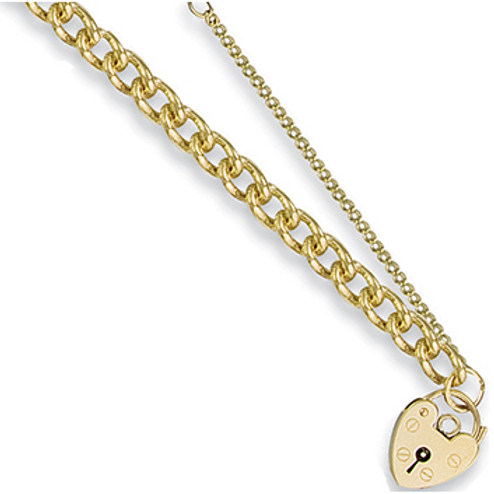 Gold tight curb charm bracelet