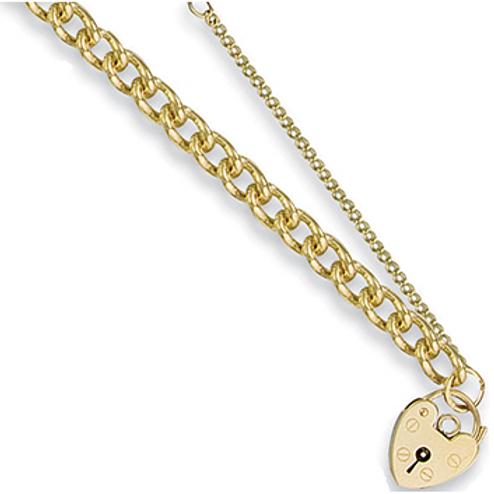 Gold tight curb charm bracelet