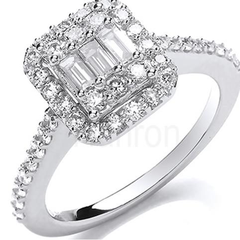 Trio emerald cut ring