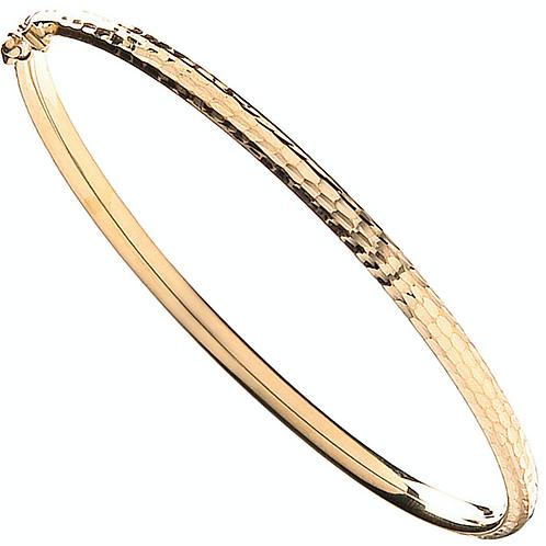 Gold Fancy Hammered Bangle