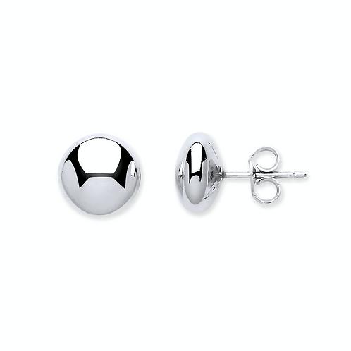 Silver 10mm Button Stud Earrings