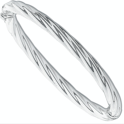 Silver Lrg Twisted Hollow Bangle