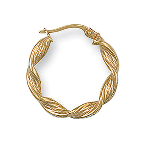 Gold med twisted creoles hoops