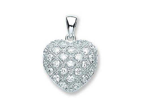 Silver Fancy Cz Heart Pendant