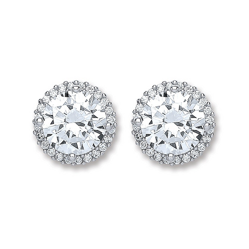 Silver Cz Round Stud Earrings