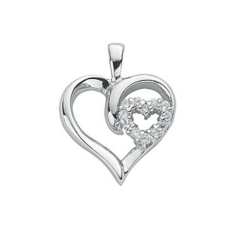Silver Double Cz Heart Pendant