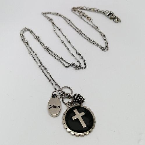 Black/Silver Cross Pendant