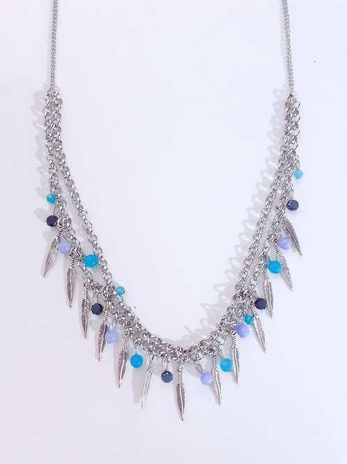 Multi- Coloured Necklace - Green and Blue Bead