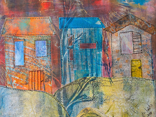 Down the Street - Original Monoprint