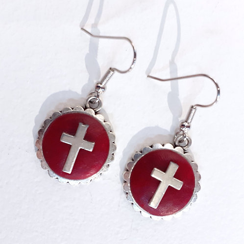 Red and Silver Cross Earrings