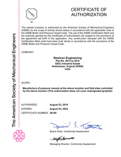 ASME'U' Certificate of Authorization