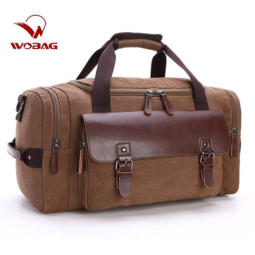 New High Quality  Canvas Travel Bags in Genuine Leather