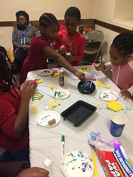 A.N.F. students painting during the afterschool program