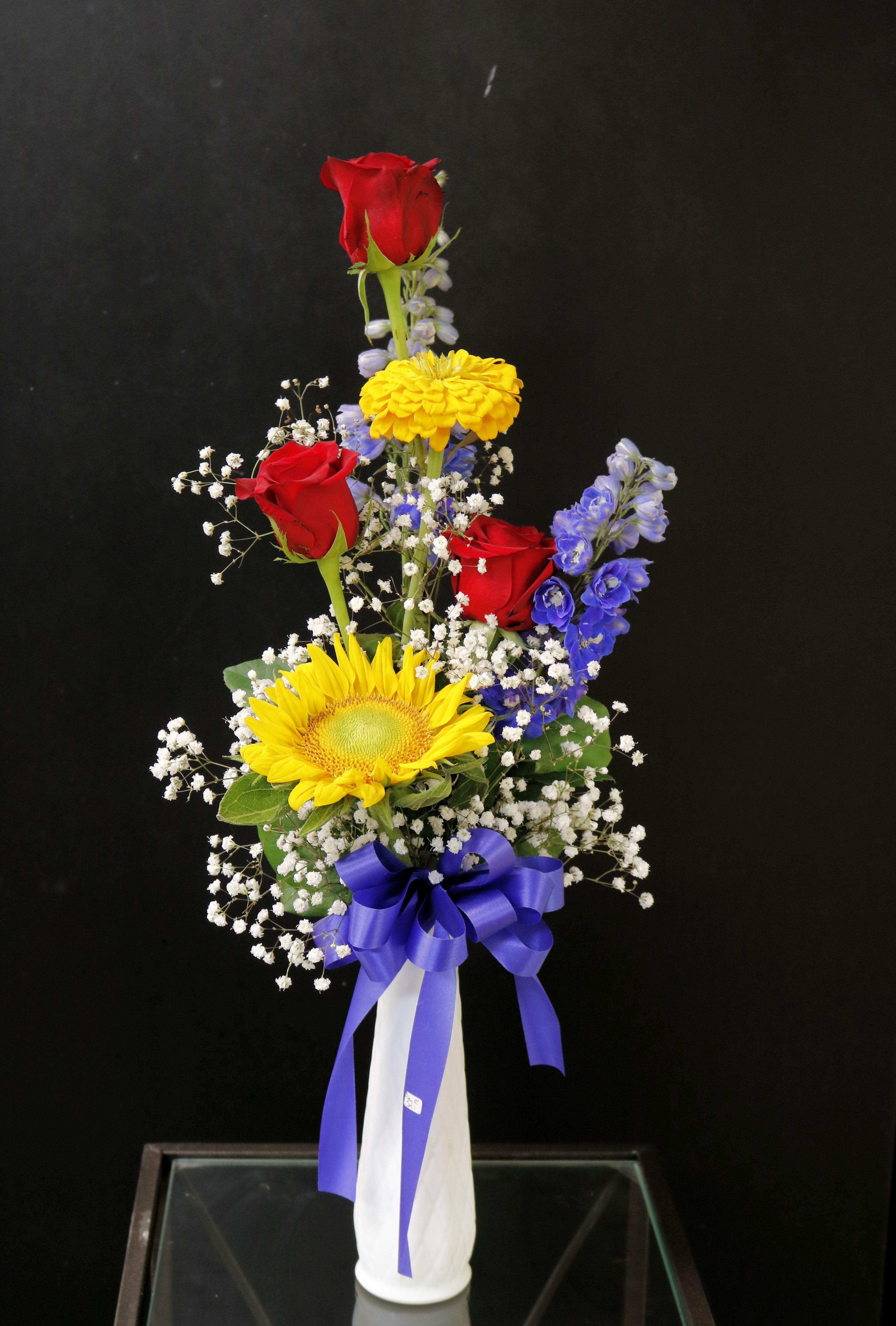 Roses, Sunflowers, Blue Delphinium